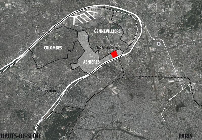 Asnlères : ZAC parc d'affaires localisation dans boucle nord de la Seine 92