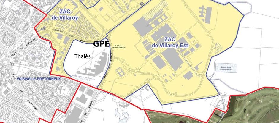 Guyancourt Thalès plan des ZAC PLUI SQY CROPED